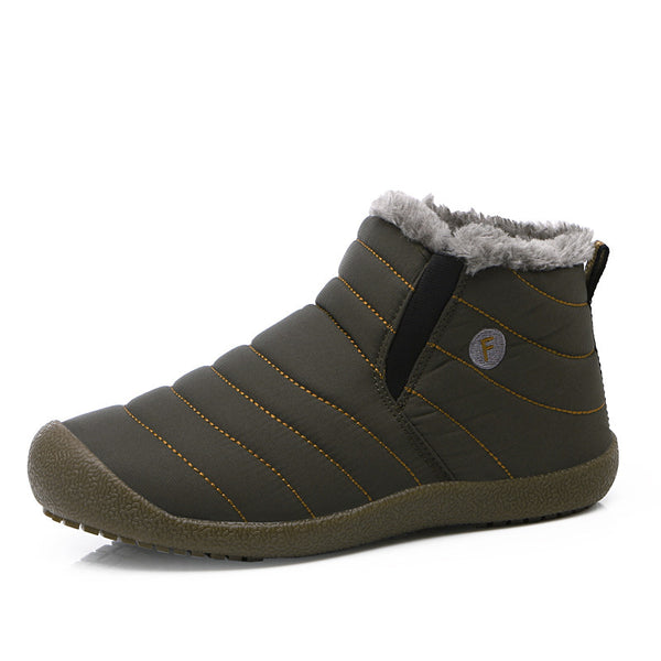 Men Winter Casual Solid Color Snow Cotton Bottom Keep Warm Waterproof Boots
