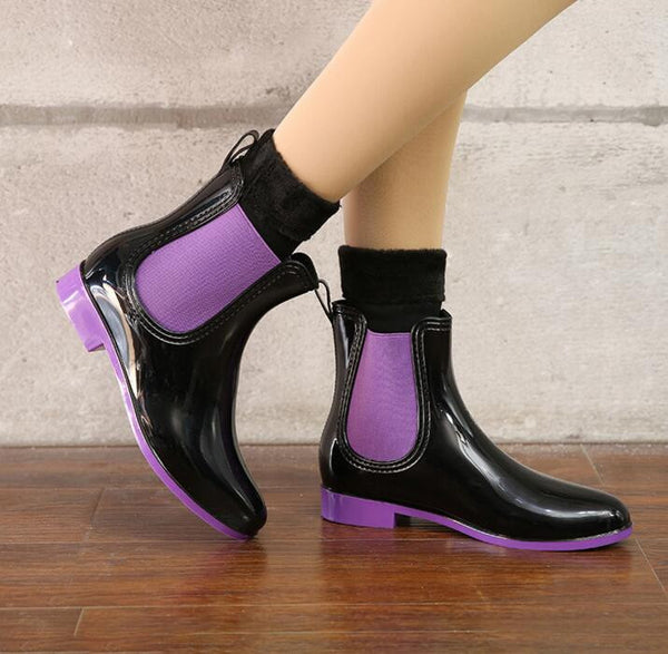 Elastic Band Solid Women Rain Waterproof Rubber Jade Stretch Boots
