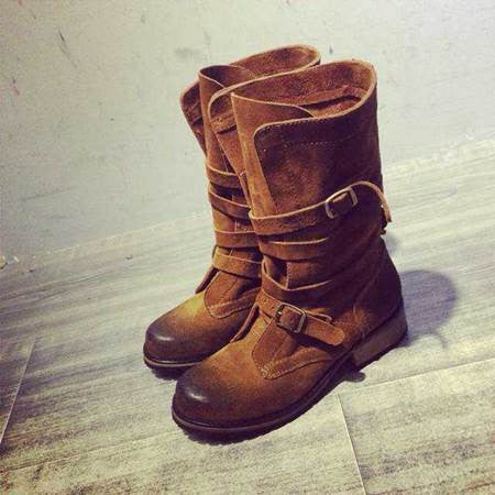 Women Mid Calf Autumn Winter Riding Motorcycle Lady Boots