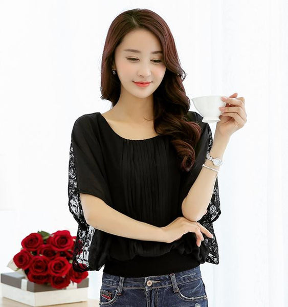 Summer Women's Batwing Sleeve Lace Chiffon Blouses Shirts Ladies Casual Loose Plus Size