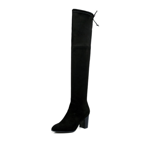 Black Round Toe Lace Up Over The Knee Scrub Square High Heel Women Winter Snow Boots Size 34-43