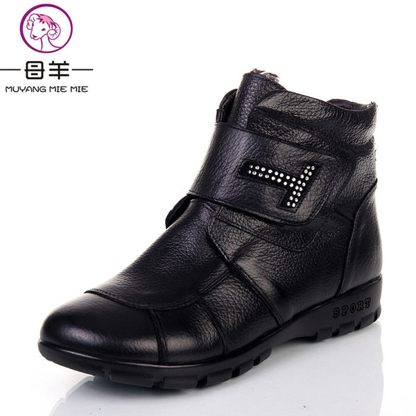 Plus Size 35-43 Winter Women Genuine Leather Flat Ankle Warm Snow Boots