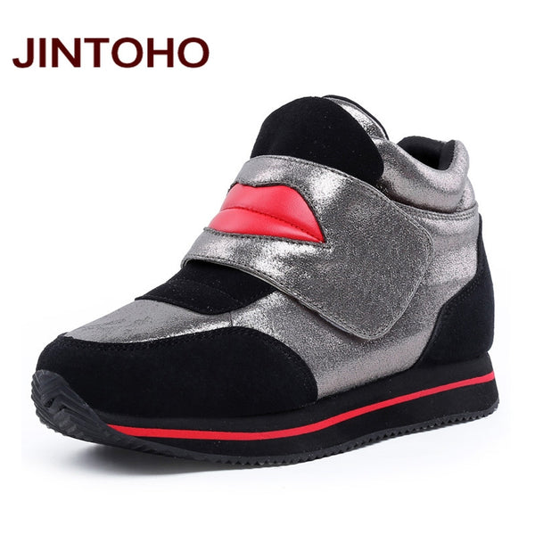 Leather Casual Pointed Toe Height Increasing Rubber Women Ankle Snow Boots