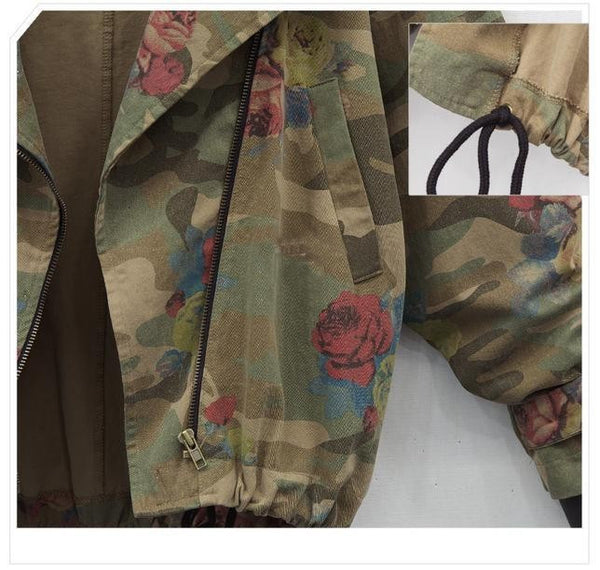 Vintage Army Green Camouflage Jacket Long Sleeve Denim Jackets Zipper Flower Print