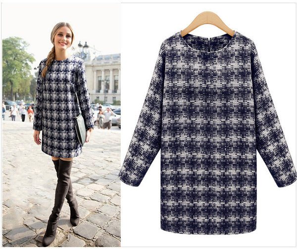 Winter Women Dress Round Neck Long-sleeved Plaid Was Thin Loose Big Yards Casual Dress Women