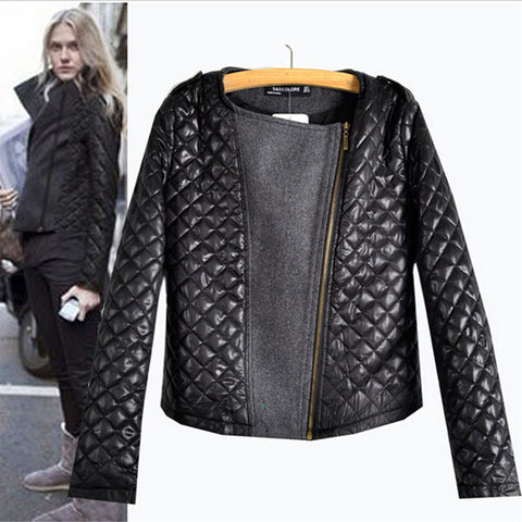 Autumn Winter European Style Fashion Quilting Stitching Woolen Coats Ladies Long Sleeve Zipper