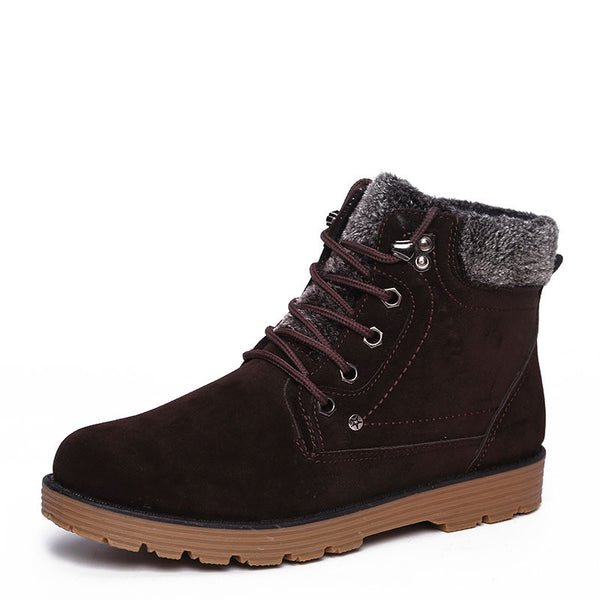 Autumn Winter Lace-up Style Brand Fashion Trend Flock Short Men's Ankle Martin Boots