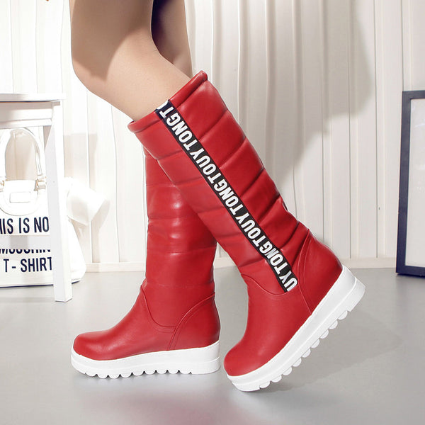 Winter Women Knee High Flat Thermal Velvet Snow Boots Platform Cotton-padded Size 34-43