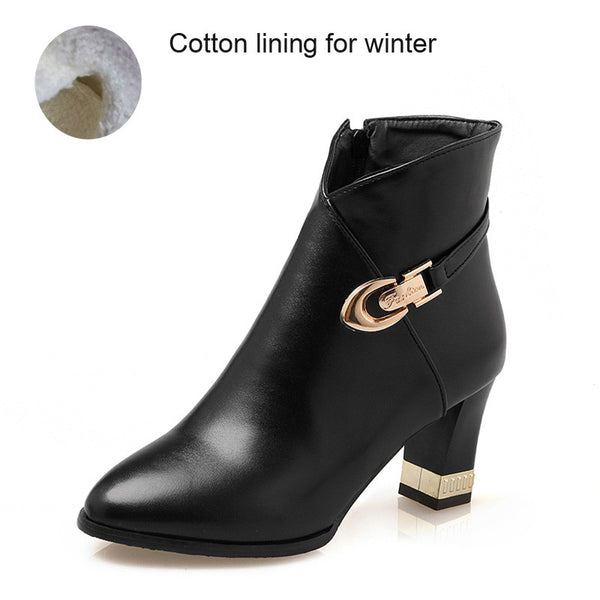 Size 34-43 Autumn Winter Women Casual Leather Buckle Warm Plush Women Ankle Boots