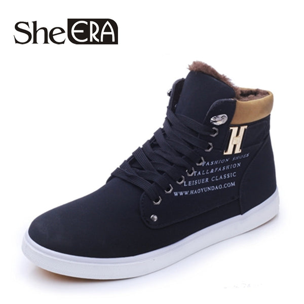 Men Warm Fur Winter Casual Footwear High Top Snow Boots