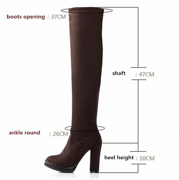 Women Over The Knee Sexy Flock High Thick Heels Platform Round Toe Riding Boots Size 34-43