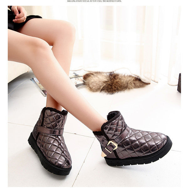Women Winter Female Snow Warm Ankle Buckle Cute Out Boots Metallic
