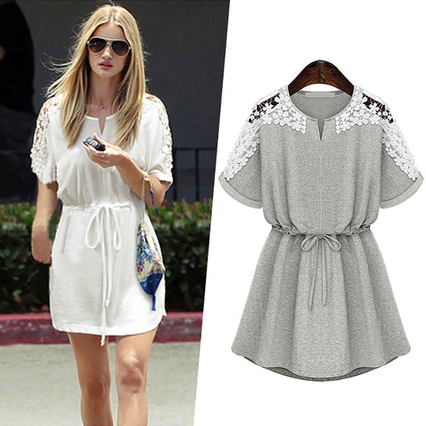 Summer Dress Women Short Sleeve Tunic Casual Party Shift Lace Dresses Frock Female White Gray S M L