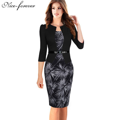 Faux Jacket Brief Elegant Patterns Work Dress Office Bodycon Female 3/4 Full Sleeve Sheath Dress
