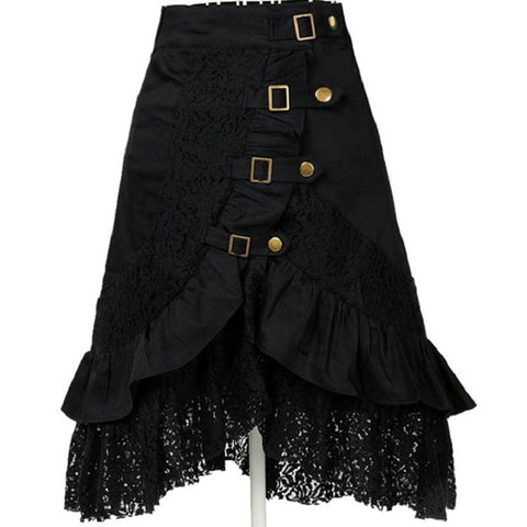 Spring Summer Gothic Steampunk Rock Long Skirts Women Patchwork Lace Hem Skirts Plus Size Skirt