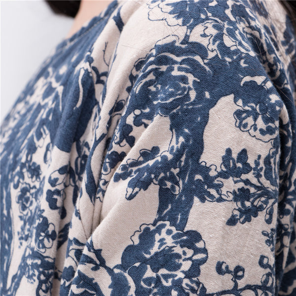 Women Porcelain Robes Cotton Linen Plus Size Long Designer Loose Oversized Print Vintage Maxi Dress