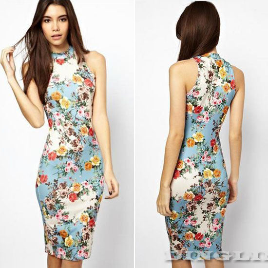 Women Vintage Sleeveless Floral Print Cheongsam Bodycon Bandage Pencil Evening Party Dresses
