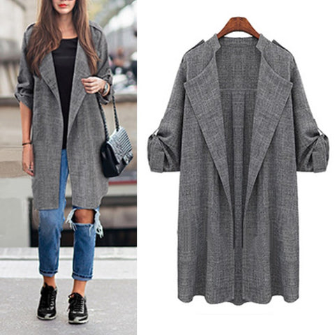 Spring Slim Thin Outerwear Casual Lapel Windbreaker Cape Coat Linen Cardigan Jacket Plus Size S-7XL