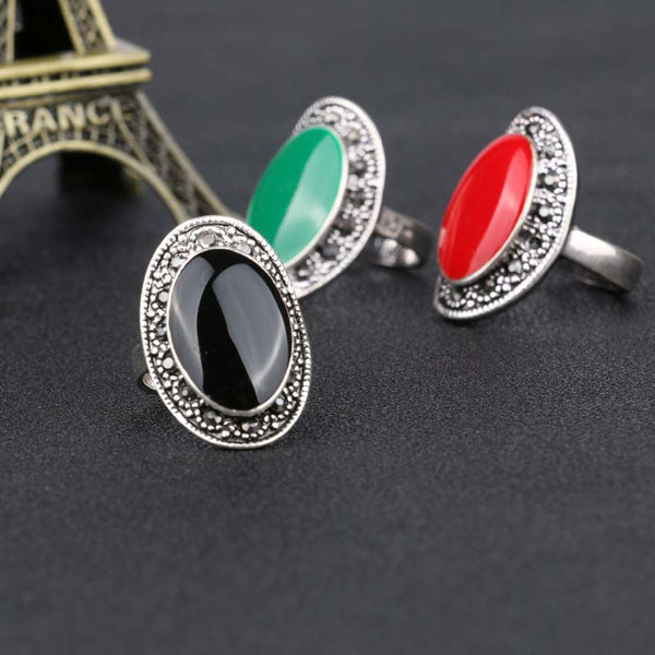 Vintage Jewelry Oval Black And Green Enamel Rings Silver Plated Crystal