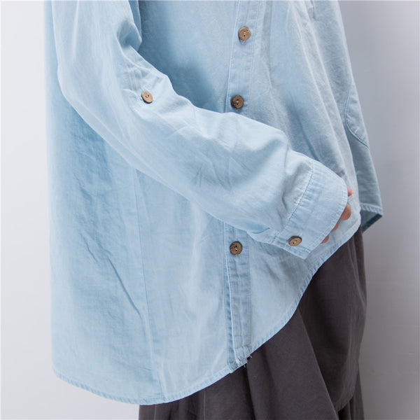 Women Shirt Slant Oblique Button Irregular Plus Size Roll Up Sleeve Color Pocket Loose Blouse
