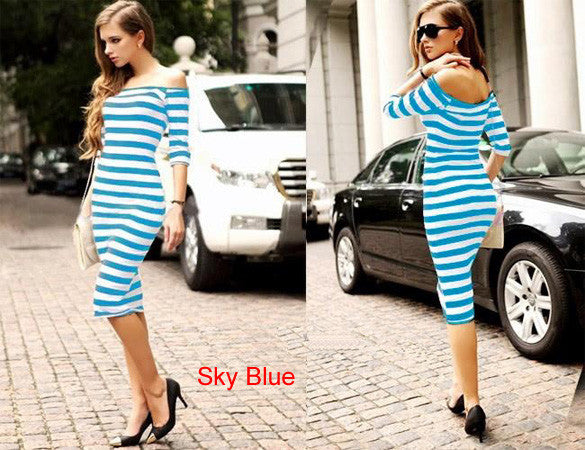 Summer Dress Lady Sexy Half Sleeve Off Shoulder Stripe Stretch Bodycon Party Dresses S-XL