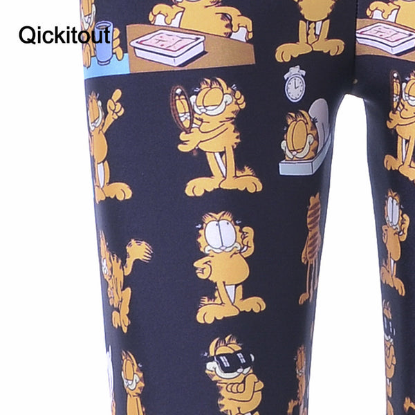 Yellow Cartoon Cat Varied Sportswear Fitness Leggings