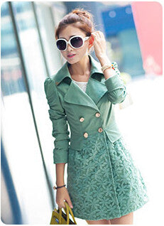Women Jacket Stylish Autumn Coat Slim Lace Long Section Of Women's Windbreaker