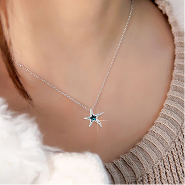 "Sterling Silver Necklaces Starfish Pendant Necklace 18"" Chain Birthday Gifts for Her"