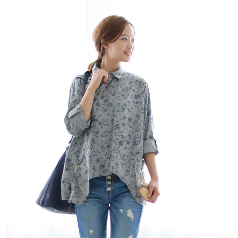 Women Shirt Cotton Oblique Button Floral Turn-down Collar Irregular Plus Size Solid Loose Blouse