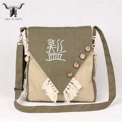 Canvas Crossbody Buttons Beads Tassels Hand Painted Shoulder Bag Vintage Satchel Bag