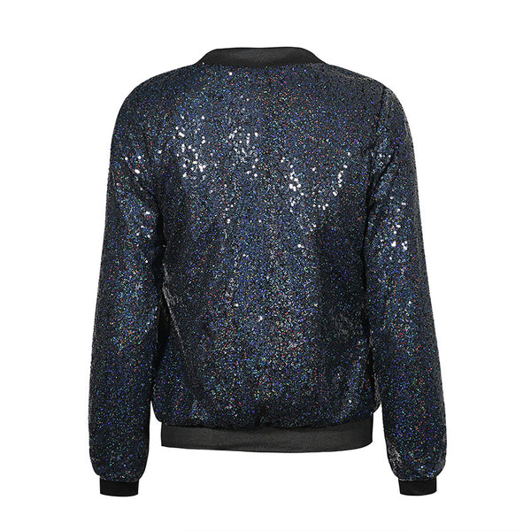 Haoduoyi Blingbling Sequins Outwear Coats Casual Baseball Style Women Jackets