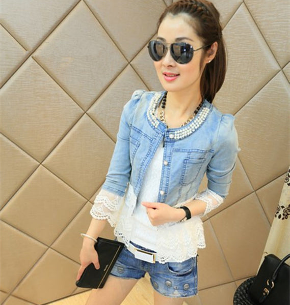 Spring Jackets Women Outerwear Slim Lace Patchwork Long-sleeve Denim Jacket Lady Vintage Jacket