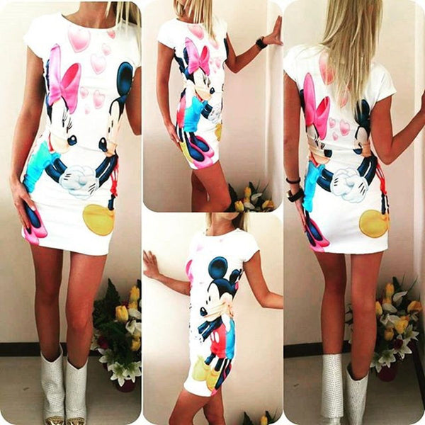 Summer Dress Women Clothing Pencil Plus Size Cute Print Slim Sexy Bandage Bodycon Summer Dress Robe