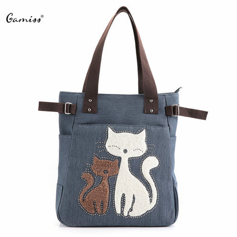 Cat Print Beaded Zippered Canvas Handbag Tote Lady Crossbody Bag