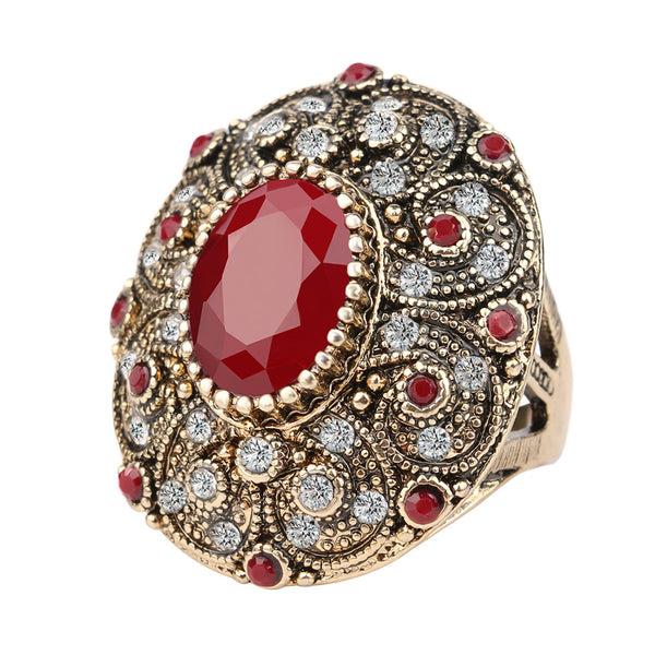 Fashion Vintage Jewelry Rings Unique Ancient Gold Mosaic AAA Crystal Big Oval Ruby Rings