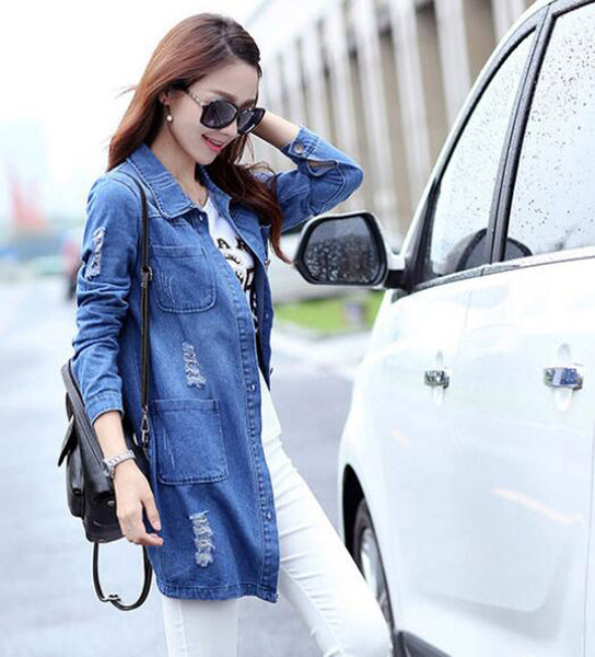 Spring Long Sleeve Women Denim Jacket Frayed Jeans Jacket Women Overcoat Jean Coats Plus Size