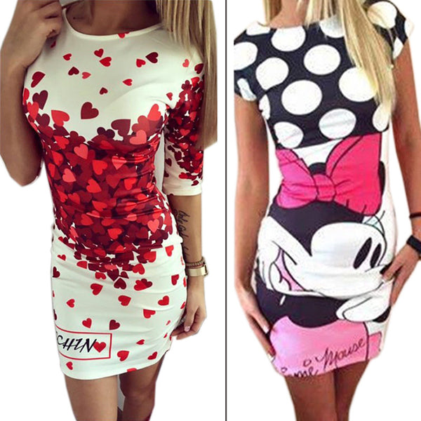 Love Heart Print Slim Pencil Dresses Party Plus Size Women Clothing Cute Casual Bandage Dress