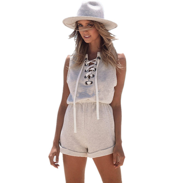 Vintage Grey Marled Lace Up Rompers Sleeveless Cotton Casual Jumpsuits Playsuits