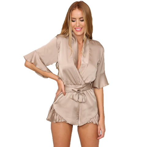 Relax Loose Fit Deep V Neck 3/4 Sleeve Silk Ruffled Romper Satin Casual Jumpsuits S-XL Tan Peach