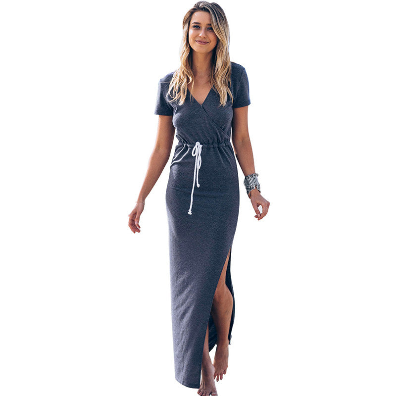 V-neck Spring Summer Side Split Drawstring Beach Boho Long Maxi Dress Bohemia Sundress Size S-XL