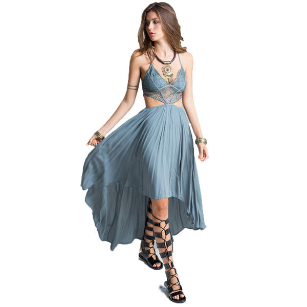 Woman Deep V Neck Floral Lace Bodice Cut Out High Low Maxi Long Dress Beach Poplin Bohemian Dresses