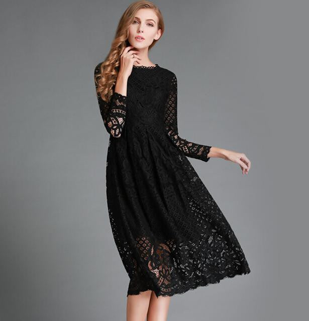 Spring Women's Lace Hollow Out Long Dresses Bohemian Femme Casual Women Sexy Slim Party Dress