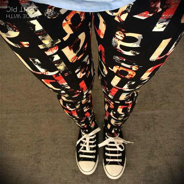 Spring Autumn American Apparel Soft Graffiti Printed Women Pants High Waist Slim Sports Leggings