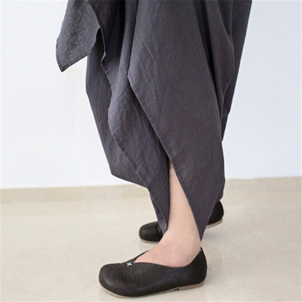 Women Wide Leg Loose Linen Cotton Asymmetric Pants Designer Plus Size Capris Elastc Waist Skirt