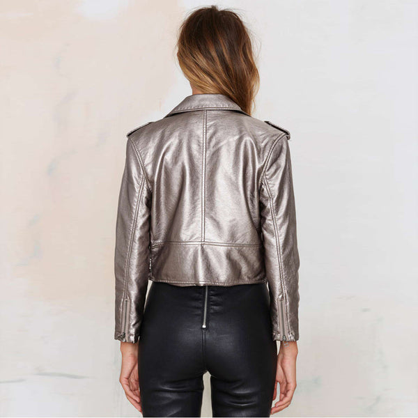 Spring Black Lapel Oblique Zipper Crop Pu Jacket Punk Style Silver Bandage Women Pu Leather Jacket