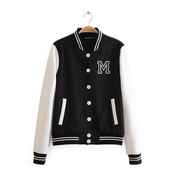 M Logo Classical Bomber Ladies Jacket Autumn Cardigan Sport Patchwork Baseball O-neck Tops Bolero