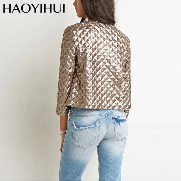 Spring Style Vogue Lozenge Women Gold Sequins Jackets