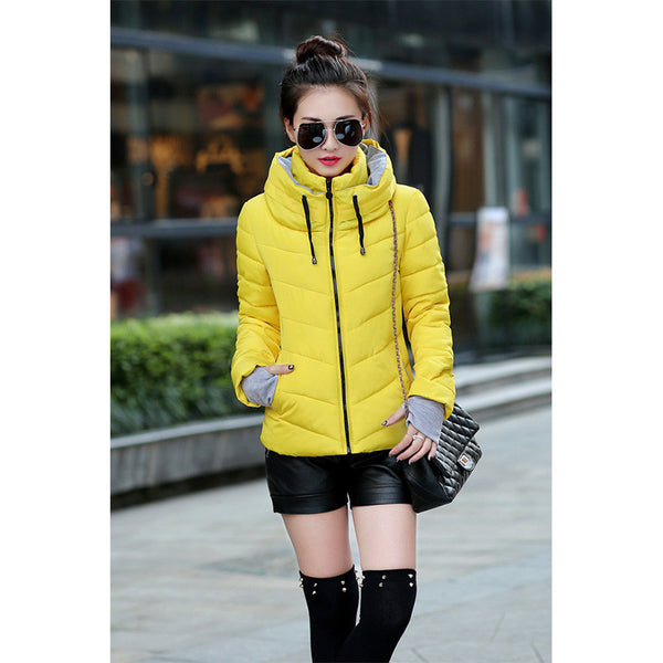 Women Jacket 9 Color Large Size Female Down Coat Short Slim Hoodie Autumn Zipper Stand Long Sleeve