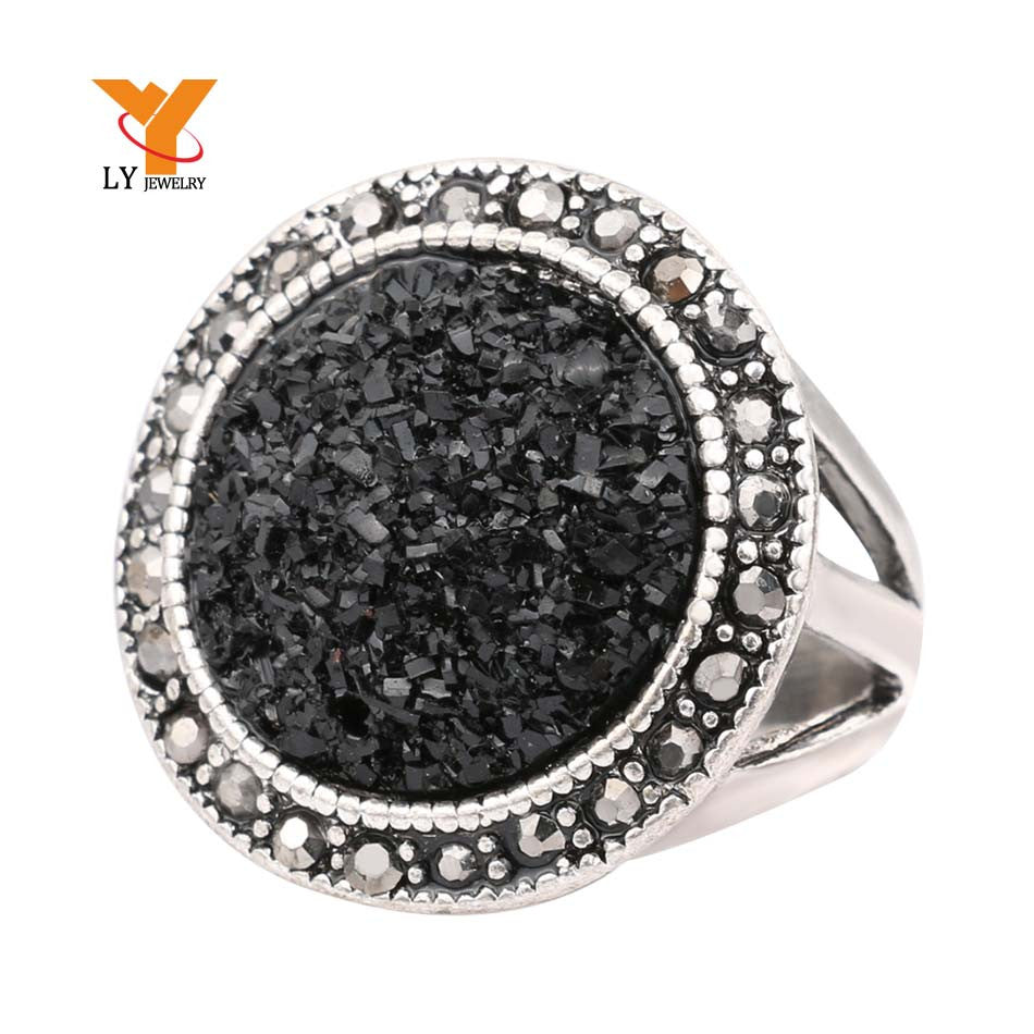 Black Broken Stone Rings Silver Plated Jewelry Live To Ride Engagement Ring