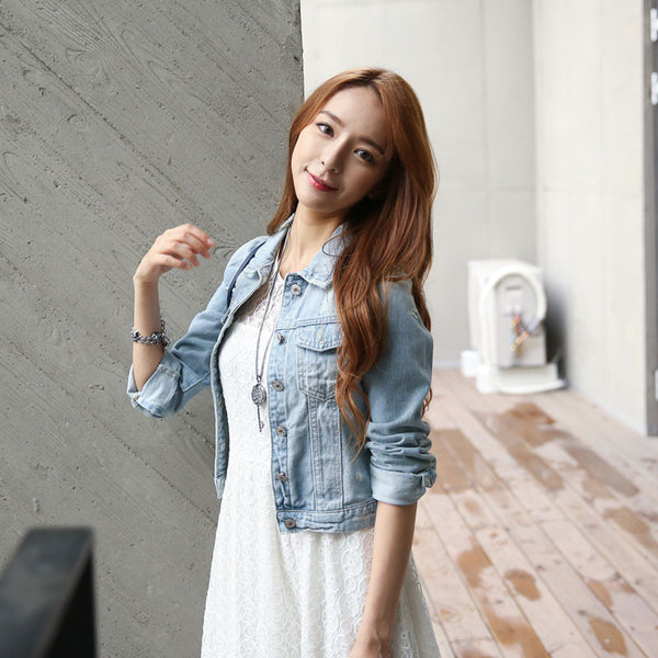 Women Jeans Jackets Short Tops Spring Autumn Long Sleeve Denim Coat Vintage Ripped